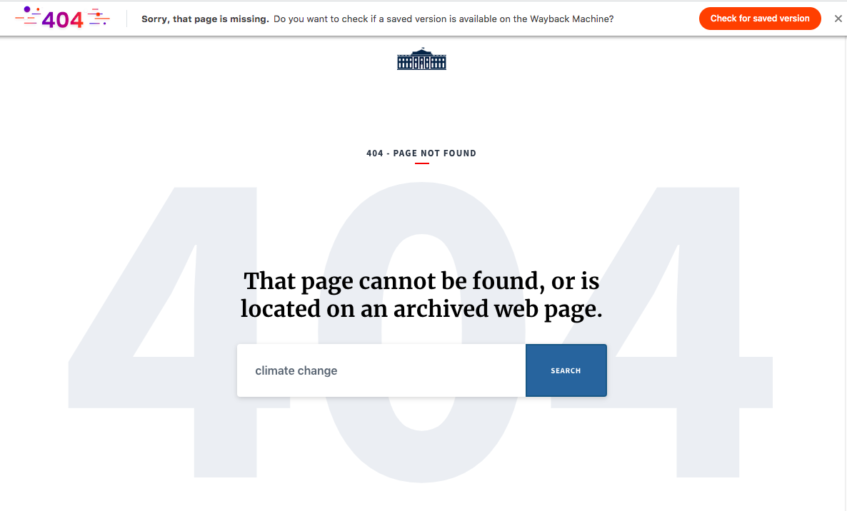 """Wayback Machine 404 support on Brave browser. """"Missing"""" page link"""